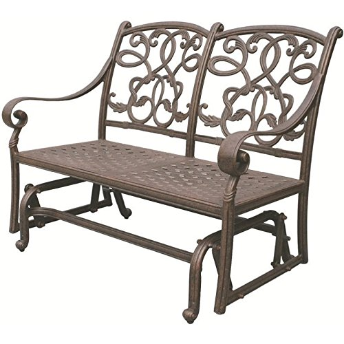 Darlee Santa Monica Patio Glider Loveseat with Cushion in Bronze Darlee Aluminum Rocking Chairs