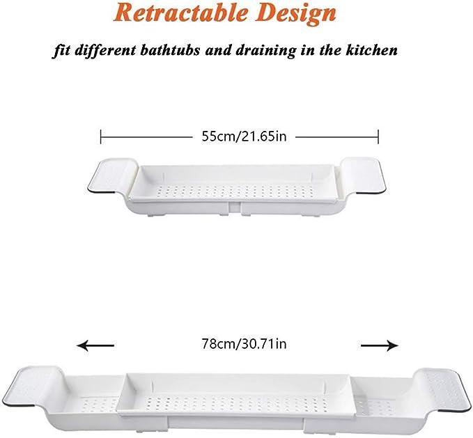 PLASTIC EXTENDABLE DEEP BATH RACK TUB CADDY ORGANIZER DRAINER SILICON GRIP