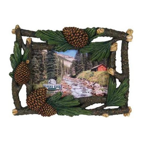 Pinecone Four Light - Rivers Edge Products 4 X 6-Inch Pine Cone And Cedar Picture Frame