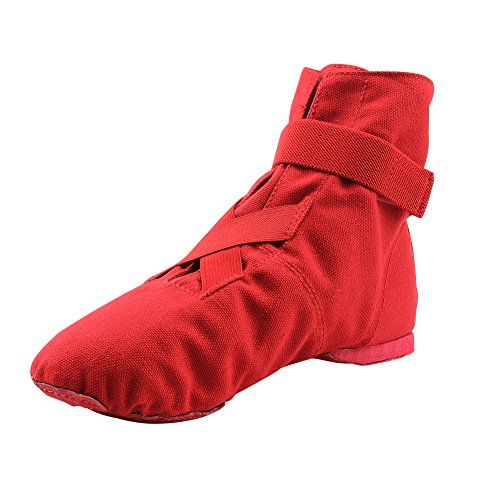 MSMAX Adult Soft Canvas Boots Unisex Dance Flats Red