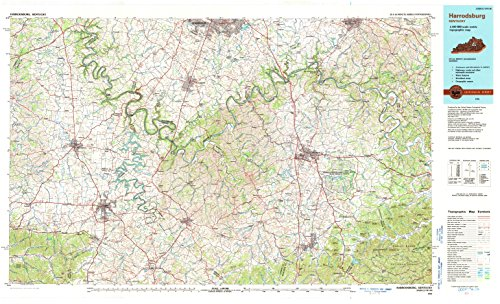 (YellowMaps Harrodsburg KY topo map, 1:100000 Scale, 30 X 60 Minute, Historical, 1991, Updated 1991, 25 x 41.2 in - Tyvek)