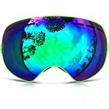 IceHacker 6 Colors Lagopus Snowmobile Snowboard Skate Ski Goggles with Detachable Lens and Wide Angle Double Lens Anti-fog Big Spherical Professional Unisex Multicolor Snow3100 (Green)