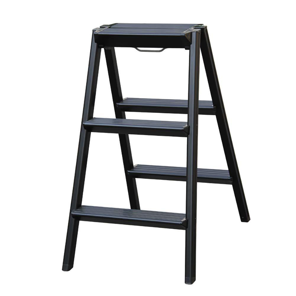 ZHANGQI ステップスツール、家庭用アルミステップスツール、折り畳みラダー、肥厚ラダーラダースツール AA (色 : 黒) B07HDZWMMJ 黒