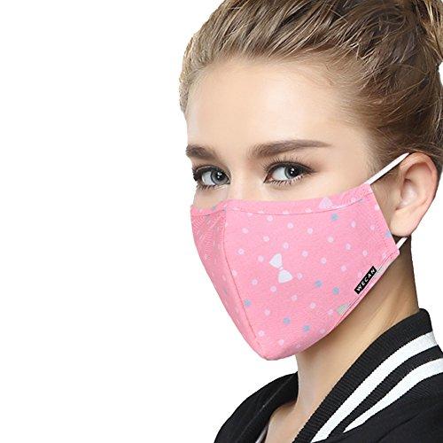ZWZCYZ-N95-Respirator-Masks-Sun-shade-Sun-Block-Anti-haze-Thin-2-Layer-Pure-Cotton-Masks-4-Layer-Filter-Insert-Protective-Filter-Insert-Mouth-Masks-Medium-Womens-Pink-bowknot