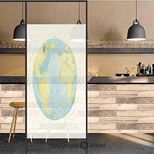 (3D Decorative Privacy Window Films,Hand Drawn Watercolor Style Earth Kids Art with Color Stains,No-Glue Self Static Cling Glass Film for Home Bedroom Bathroom Kitchen Office 17.5x71 Inch)