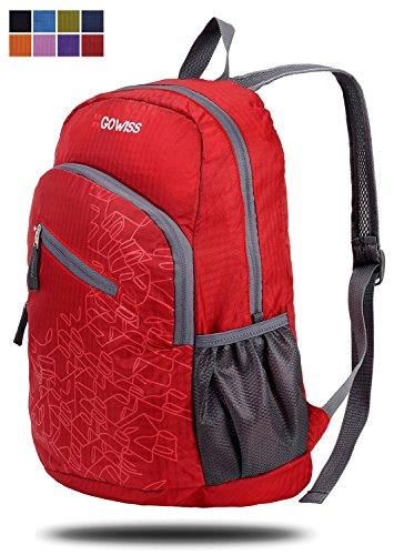 Gowiss Backpack - Rated 20L / 33L- Most Durable Packable Convenient Lightweight Travel Backpack Daypack - Waterproof,Ultralight and Handy (Red, 20L) by Gowiss