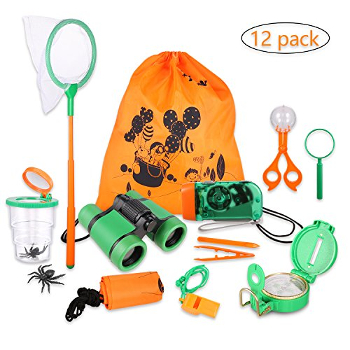 Outdoor Adventure Set for Kids - Explorer Kit, Educational Toys, Binoculars, Flashlight, Compass, Magnifying Glass, Butterfly Net, Tweezers, Bug Viewer, Whistle, Gift Set For Camping Hiking Backyard ()