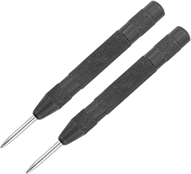 uxcell Automatic Center Punch HSS Adjustable Spring Loaded Drill Tools Black 2Pcs