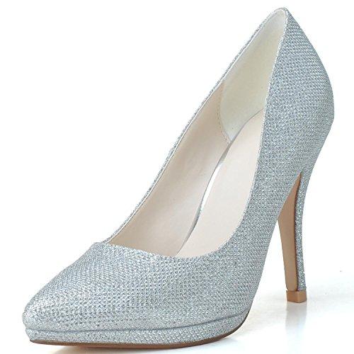 White Clignotant 0255 Cuir De L Dos En 24 Pointue Femmes À Mariée La yc forme Talon Plate Haut Chaussures Nuit xSqqRWzH4w