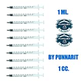 hand wax injector - Punnarit 1ml Syringe Only with Luer Slip Tip Without Needle (Pack of 10)