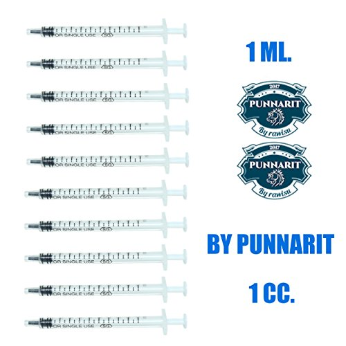 Punnarit 1ml Syringe Only with Luer Slip Tip Without Needle (Pack of 10)