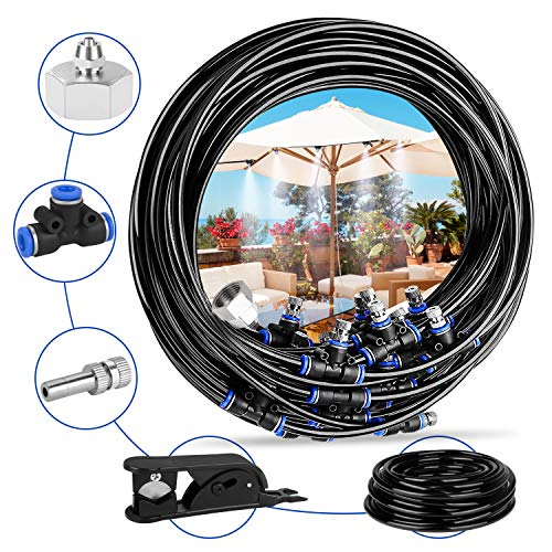 Deyard Patio Misting Micro Flow Watering System Best for Greenhouse Trampoline for Waterpark with 65.6 FT (20M) Home Garden Misting Cooling Automatic Distribution System with Adjustable Tubing Hose