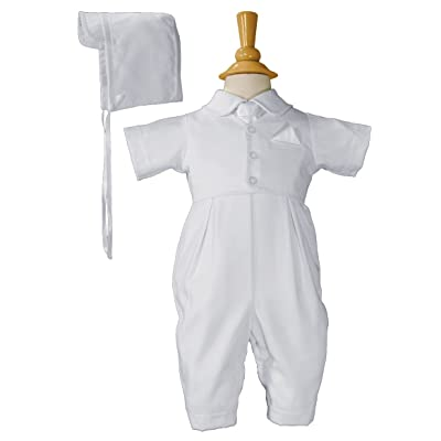 Boys Christening Outfit Baptism Coverall with Vest and Hat Set