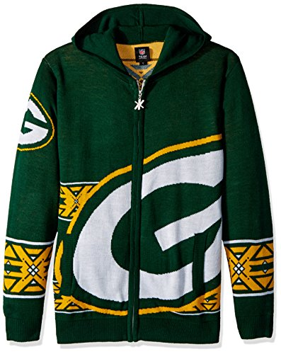 Green Bay Packers Full Zip Hooded Sweater Large