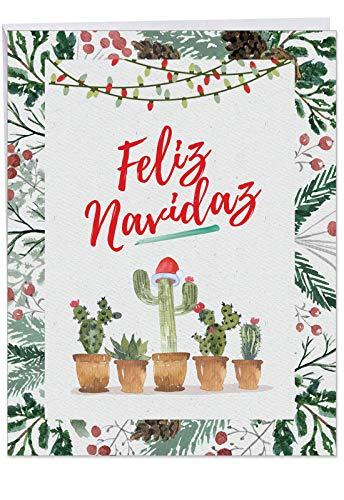 (Funny Cactus 'Feliz Navidad' Merry Christmas Card Big 8.5 x 11 Inch - Spanish Holiday, Happy New Year, Xmas Note - Feliz Año Nuevo y Felices Fiestas - Stationery Notecard)
