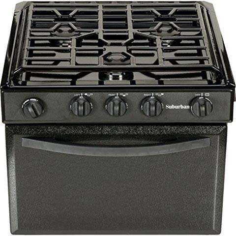 Suburban 3235A Gas Range with Sealed Burners - Black w/Piezo Ignition, 17