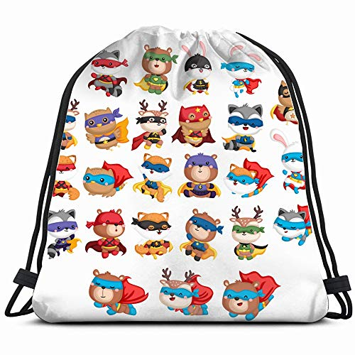Collection Many Animals Superhero Costume Wildlife Halloween Drawstring Backpack Sports Gym Bag For Women Men Children Large Size With Zipper And Water Bottle Mesh Pockets]()