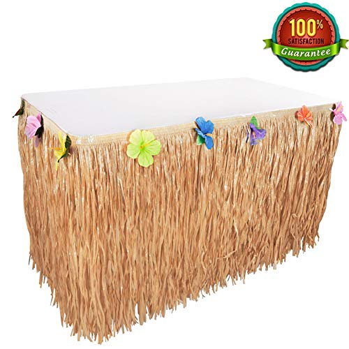 Jijie Hawaiian Luau 9 Ft Grass Table Skirt with Hibiscus Leis Silk Flower for Party,Beach,Events,Birthdays Decoration (Yellow) for $<!--$10.95-->