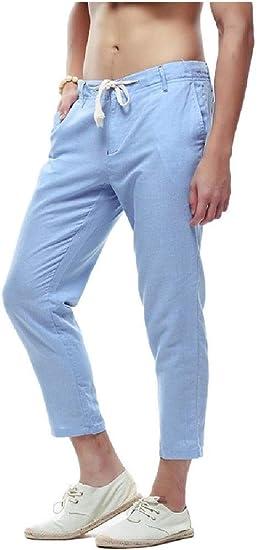 sayahe Mens Cotton Linen Vogue Tapered Plus-size Summer Loose Fit Jogger Pant