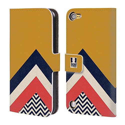 Head Case Designs Giallo Mostarda Chevron A Blocchi Di Colore Cover a portafoglio in pelle per iPod Touch 5th Gen / 6th Gen