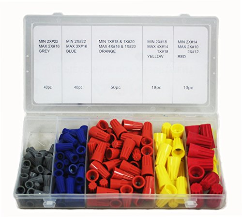 ABN Wire Connector/Terminal 158-Piece Assortment – Gray, Blue, Yellow, and Red Connectors with Storage Case