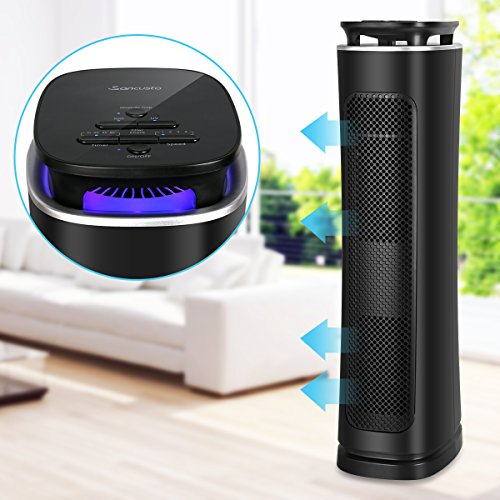 Sancusto Air Purifier for House, 3 Stages Filtration True Hepa Filter Air Cleaner with Mosquito Trap, Tower Fan, UV Light, Capture Allergens and Timer Aim for Room and Office, ETL Certified-Black