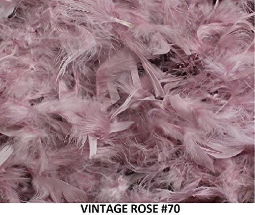 (Cozy Glamour Over 50 Different Solid Color Feather Boas 6 Feet Long 50 Gram Weight (Vintage Rose #70))