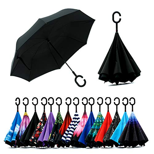 Spar. Saa Double Layer Inverted Umbrella with C-Shaped Handle, Anti-UV Waterproof Windproof Straight Umbrella for Car Rain Outdoor Use (Black)
