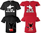 I'm Hers He's Mine Couple Shirts, Matching Couple Shirts, Disney His and Her Shirts Black - Red Man Small - Woman Small