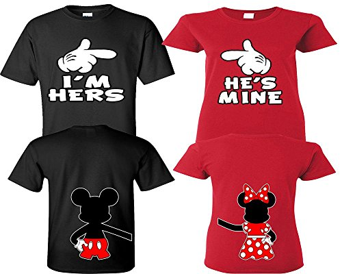 (I'm Hers He's Mine Couple Shirts, Matching Couple Shirts, Disney His and Her Shirts Black - Red Man Medium - Woman)
