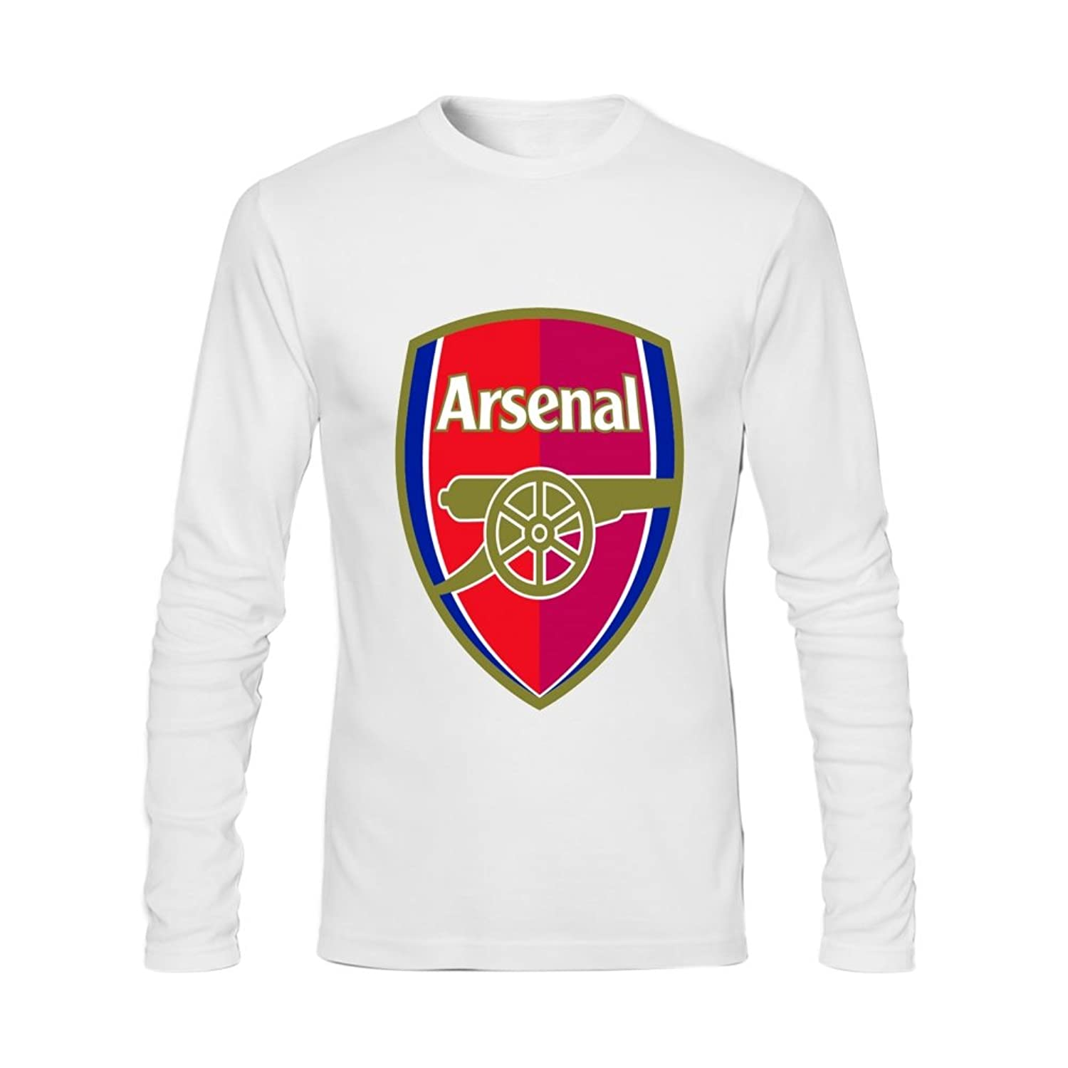 Anydover Arsenal FC Team Mens 100% Cotton Crew Neck Long Sleeve T-Shirt S White