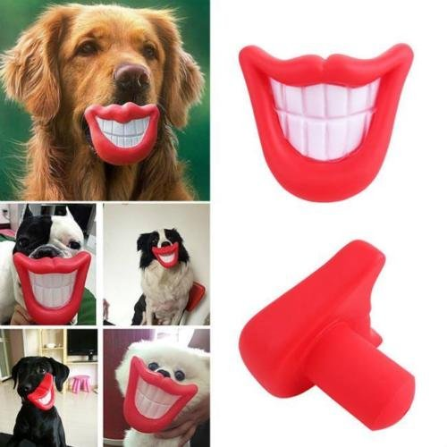 UNAKIM--Puppy Dog Toys Big Red Rubber Lips for Pet Dog with Sound Squeaker Squeaky Toys