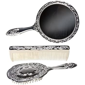 1900-1910 Edwardian Makeup and Beauty Products 3 pc Silver Chrome Girls Vanity Set Comb Brush Mirror.  AT vintagedancer.com