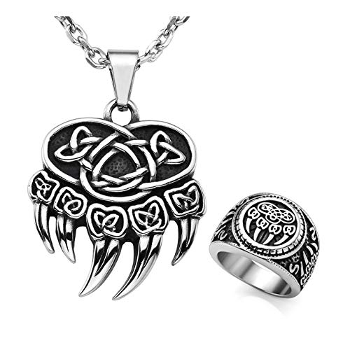 - Zysta Bear Paw Claw Celtic Knot Vintage Retro Ancient Symbol 24 inches Stainless Steel Chain Pendant Necklace Size 13 Wide Biker Band Ring Set Old Style Strength Power Amulet