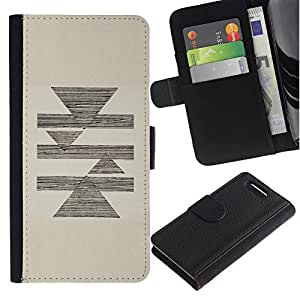 For Sony Xperia Z1 Compact / Z1 Mini / D5503,S-type® Abstract Pencil Sketch Triangle Pyramid Beige - Dibujo PU billetera de cuero Funda Case Caso de la piel de la bolsa protectora