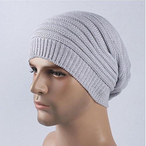 punto forrado hombre para esquí white al de suave sombreros libre grueso aire gorro blanco gray Daily cálido Slouchy Invierno gris Beanie wX1qq