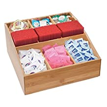 """Mind Reader """"Square"""" 9 Compartment Condiment Organizer in Bamboo Wood, Brown"""
