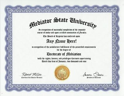 Amazon.com: Mediator Mediate Mediation Degree: Custom Gag Diploma ...