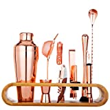 Jillmo Copper Coated Pro Bartender Kit-11 Pieces Premium Bar Tools with Stylish Bamboo Stand-Perfect Home Bartending Kit and Cocktail Shaker Set/19oz Parisian Cocktail Shaker with bar Accessories