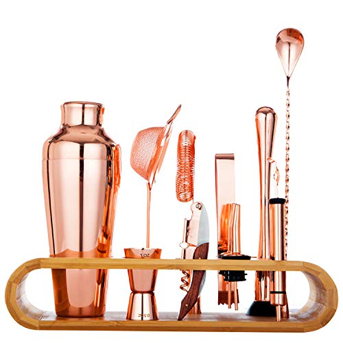 Jillmo Copper Coated Pro Bartender Kit-11 Pieces Premium Bar Tools with Stylish Bamboo Stand-Perfect Home Bartending Kit and Cocktail Shaker Set/19oz Parisian Cocktail Shaker with bar Accessories by Jillmo