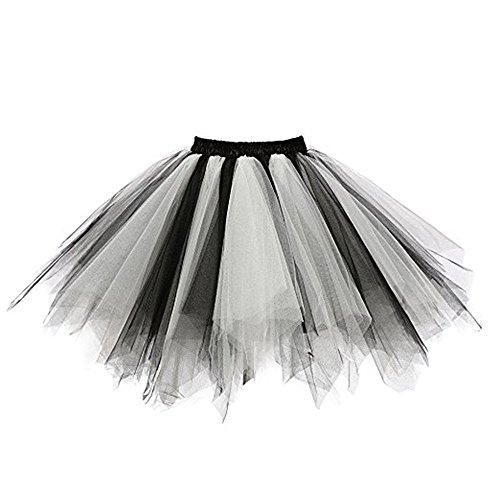 POachers Femme Rtro 50s Style Anne Ballet Tutu en Tulle Jupon Court Rockabilly Audrey Hepburn Petticoat Multicolore B