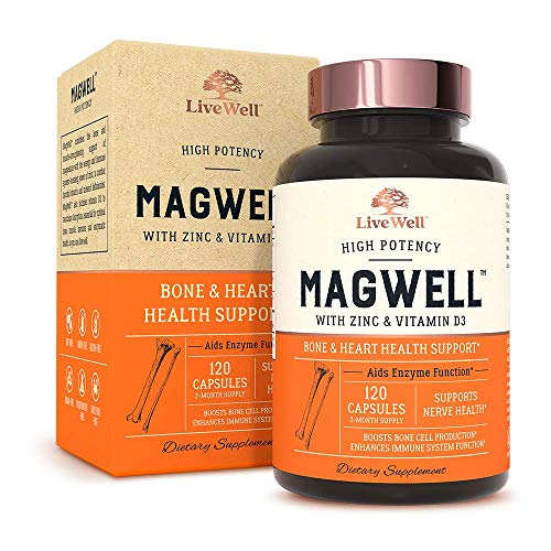Magnesium Zinc & Vitamin D3 - Most Bioavailable Forms of Magnesium - Malate, Glycinate, Citrate - MagWell by LiveWell | Bone & Heart Health, Immune System Support - 2 Month Supply