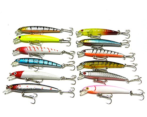 Hengjia pack of 12 plastic minnow fishing lures bass for Amazon fishing lures