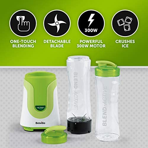 Breville Blend Active Personal Blender & Smoothie Maker with 2 Portable Blending Bottles (600ml), 300W, Green [VBL062]