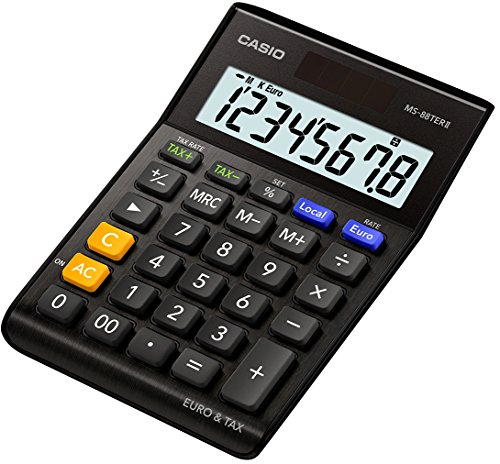 Casio MS 88TERII Euro Desk Calculator 8Digits Extra Big LCD Display, Black by Casio