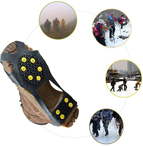 Leebei 2Pcs Non-Slip Shoe Cover Ice Snow Grips Over Shoe Boot Traction Cleat Rubber Spikes Anti Slip Mountaineering Non-Slip Shoe Cover 10-Stud Slip-on Stretch Footwear