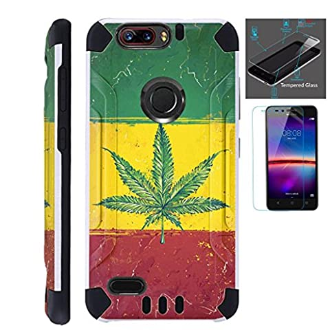 For ZTE Blade Z Max (Metro PCS) / ZTE ZMax Pro 2 / ZTE Grand X Max 4 / ZTE Sequoia Case + Tempered Glass Slim Dual Layer Brushed Texture Armor Hybrid TPU KomBatGuard (Weed Nation (Weed Zte Phone Cases)
