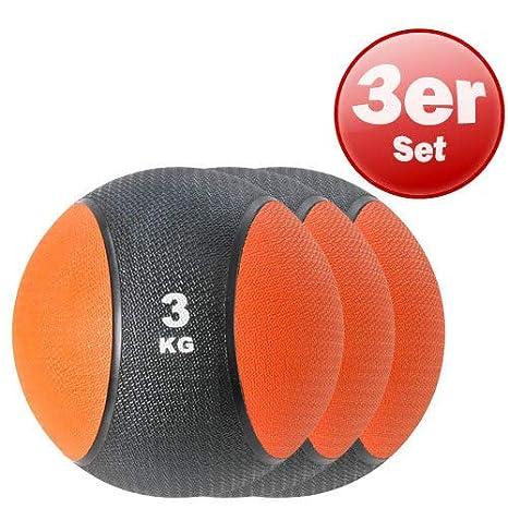 Kawanyo 3 x Balón Medicinal por 3 kg de Fuerza Naranja Negro ...