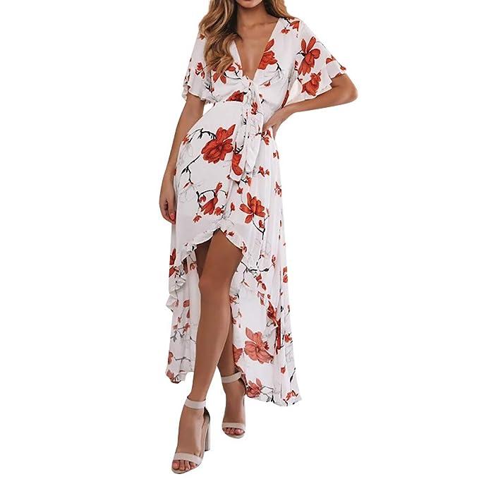 Bunt Frauen Kleid Sommer Lang Weich Strand Kurzarm Party Polyester Mode Heiß
