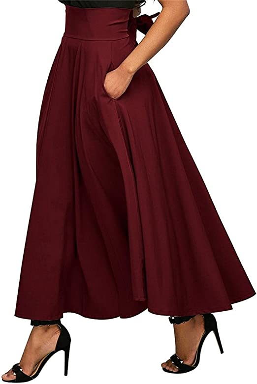 Libeauty Falda de Mujer Falda Plisada de Cintura Alta Bolsillo ...